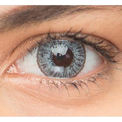 Sehr stark deckende und natürliche Kontaktlinsen farbig + Behälter von GO MAXIY GIRL- 1 Paar (2 Stück) - DIA 14.50 - ohne Stärke 0.00 Dioptrien (Sterling gray)