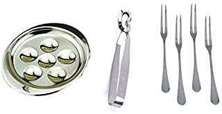 Stainless Steel Snail Escargot Plate Dishes 6 Compartment Holes Tong 4 Forks Set