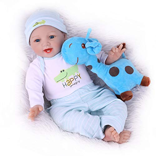 CHAREX Reborn Baby Dolls Boy, 22 Inch Realistic Weight Body Doll with Blue Giraffe Toy, for Kids Age 3+