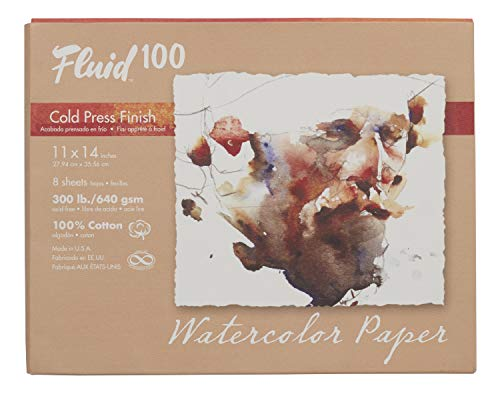 Fluid 100 Watercolor Paper 821722 300LB 100% Cotton Cold Press 11 x 14 Pochette, 8 Sheets