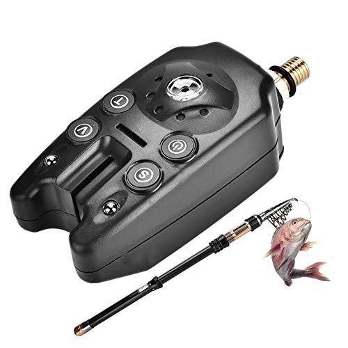 Dilwe Alarma de mordida de Pesca, LED Resistente al Agua Tono Ajustable Volumen Sensibilidad Alerta de Sonido Indicador de Alerta de mordida de Pesca(Negro)