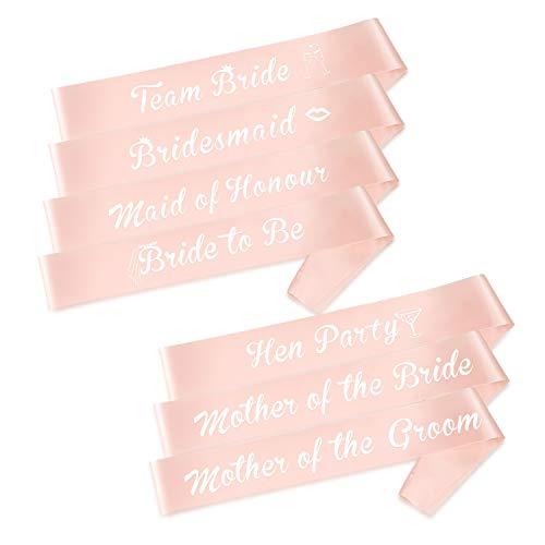 HOWAF Junggesellenabschied Schärpe Set, JGA Team Braut Schärpe Rosé Gold Braut Schärpe JGA deko Accessoires für Junggesellinnenabschied Hochzeit Party
