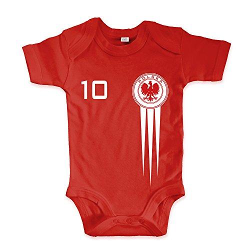 net-shirts Organic Baby Body mit Polska Polen Poland Trikot Aufdruck Fußball Fan WM EM Strampler - Spielernummer wählbar, Größe 00-03 Monate-Spielernummer 01
