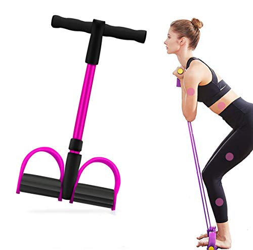Bauchtrainer Upgrade 4 Tubes Pedal Resistance Band Elastisches Sit-up Pull Rope Bodybuilding Expander Multifunktions-Widerstandstraining Home Fitness Arm Bein Dehnen Abnehmen Training Yoga-Rosa