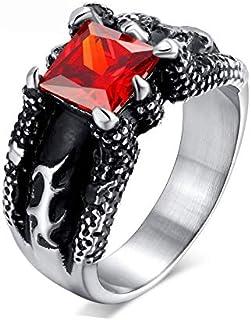 الحجر التنين مخلب الرجال الأحمر خواتم مفرطة خاتم خمر مطعمة خمر مجوهرات الدائري