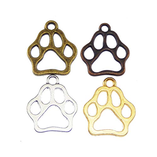 Confezione da 60 pezzi, colori misti in metallo, zampe, cavate, gatto, cane, animale, artigianato, bracciali, orecchini, collane, ciondoli, gioielli f