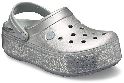 Crocs Crocband Platform Metallic Clog, Silver, 2 M US Little Kid