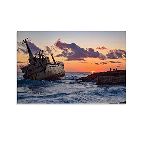 JHGB Póster de Boat Boats Ship Ocean Suns para decoración de pared, lienzo para salón, póster para dormitorio, 20 x 30 cm