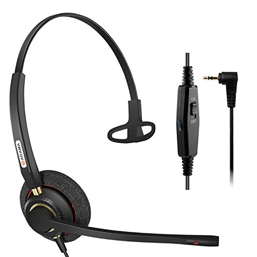 Arama Phone Headset with Noise Cancelling Microphone, 2.5mm Telephone Headset for Cordless Phones Panasonic AT&T Vtech Uniden Cisco SPA Grandstream Polycom Clarity XLC3.4 Office IP (A800CP)