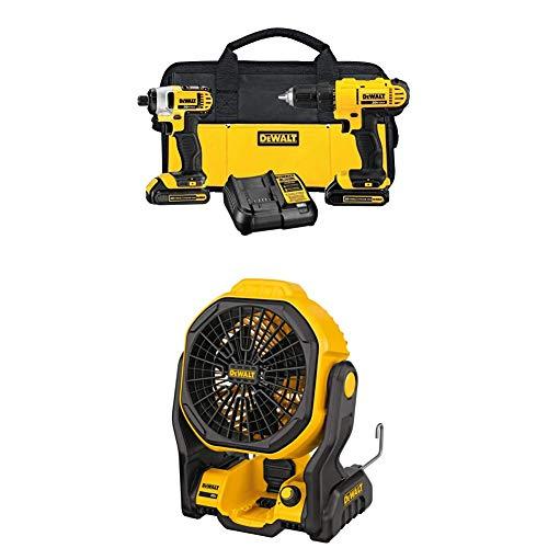 "DEWALT DCK240C2 20v Lithium Drill Driver/Impact Combo Kit (1.3Ah) and DEWALT DCE511B 20V MAX 11"" Corded/Cordless Jobsite Fan (Tool Only)"