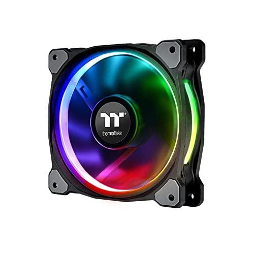 Thermaltake CL-F076-PL12SW-A Ventola per Radiatori/Chassis Ring Plus 12 RGB con Pale a Compressione e Cuscinetti Idraulici, Nero