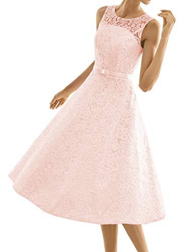 Kurze Brautkleider Spitze Vintage A-Linie Schlichte Hochzeitskleider Standesamt Wadenlang Cocktailkleider Partykleider Rosa 48