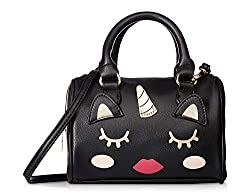 A cute black Betsey Johnson mini Satchel purse for teenage girl with top handle and strap, One of the popular teenage purses 2019