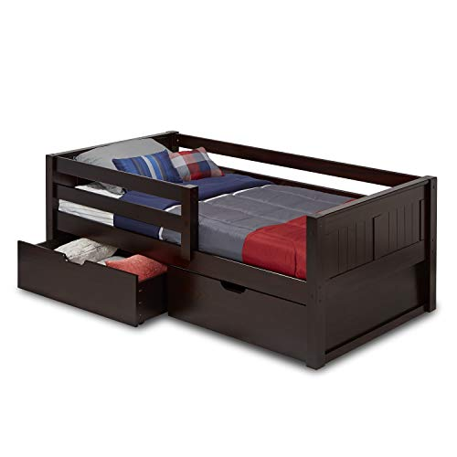 Camaflexi Panel Style Solid Wood Daybed with Drawers and Front Rail Guard, Twin, Cappuccino