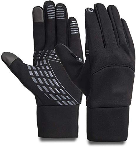 Opard Touchscreen Handschuhe Unisex Winter Warme Fleece Innenfutter Handschuhe Wasserdicht Rutschfestes Abriebfest Arbeit Sport Outdoor Motorrad Radfahren Mountainbike(Schwarz) (Handschuhe+Schwarz, L)