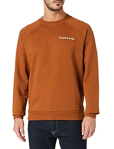 Scotch & Soda Herren Bio-Baumwolle mit Grafik-Logo Sweatshirt, Tobacco 1341, L