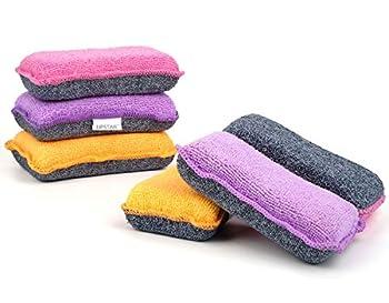 UPSTAR Microfiber Scrubber Sponge Non-Scratch Kitchen Scrubbies Dishwashing and Bathroom Sponges Size.L Pack of 6