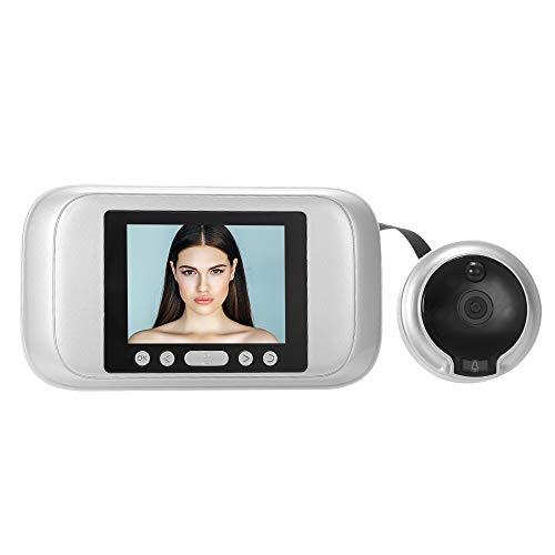 OWSOO Mirilla Digital 3.2' TFT LCD Monitor Visor de Puerta Hogar Gran Ángulo de 160 ° HD 1.0MP Cámara IR Soporte Detección de Movimiento PIR Vision Nocturna Toma de Fotos Grabación de Video, Plata