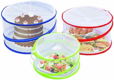 Outdoorwares 6 Pop Up Food Cover Protectors Set   Fine Mesh Screen, Bottomless & Collapsible Design with Handles   Keep Bugs, Insects & Flies Away   for Picnics, Outdoor Fiestas, BBQ, Camping & More