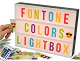Cinema Light Box Changing Lighted Up 255 Black & Colored Letters Numbers Symbols and Images White & Color Led Cinematic Set. A4 Size DIY Board with Creative Marquee Lightbox for Decorative Party Sign