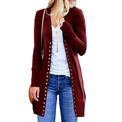 Maglione Cardigan per le Donne Femminili 2020 Autunno Nuovo Soprabito Outwear Cappotti Lungo Cardigan Plus Size - rosso - XL