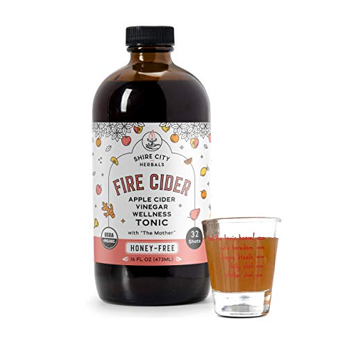 Fire Cider, Tonic, 16 oz with shot glass, Honey-Free flavor, 32 Daily Shots, Apple Cider Vinegar, Vegan, Whole, Raw, Organic, Not Heat Processed, Not Pasteurized, Not Diluted, Paleo, Keto, Whole 30.