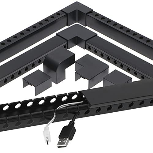 Organizador de Cables Universal para Oficina y hogar, TV/HiFi, canaletas Color Negro, Piezas y Conectores incluidos