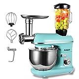 Ankishi Robot de cocina, poco ruido, amasadora con doble gancho para amasar, varillas, batidora, protección contra salpicaduras, 10 velocidades con bol de acero inoxidable (azul)