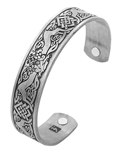 My Shape Norse Viking Wolf Fenrir Manschette Armband Keltischer Knoten Magnetfeldtherapie Manschette Armreif