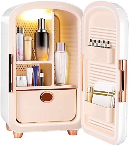 Mini frigorífico pequeño Mini nevera, 12 litros de belleza portátil Maquillaje para la piel Nevera, refrigerador de cosméticos Calentador de refrigerador compacto para dormitorio, oficina, coche, dorm