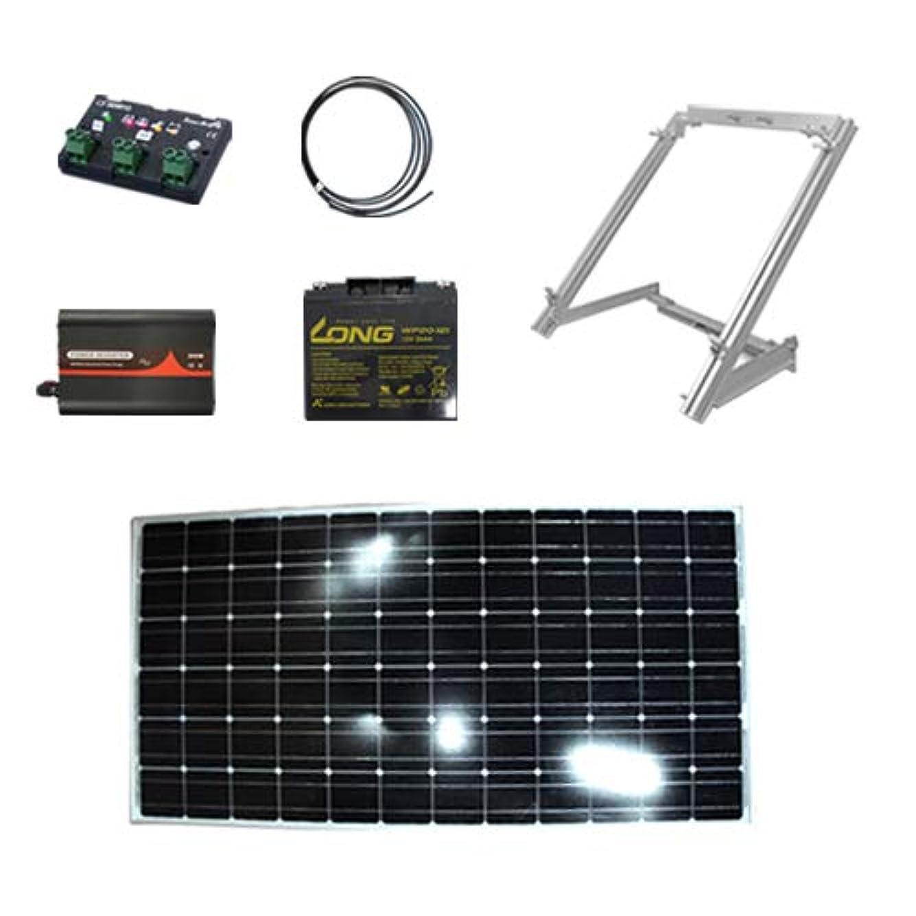 伝導率ドループ輪郭このセットでスグ充電出来る 100w ソーラーパネルセット 発電はじめて自作キット 架台付き 太陽光パネル チャージコントローラー バッテリー インバーター ケーブル付セット インバーターのヘルツ数 単結晶 高変換効率 出力安定 防水:50Hz(東日本)Dream Link(ドリームリンク)