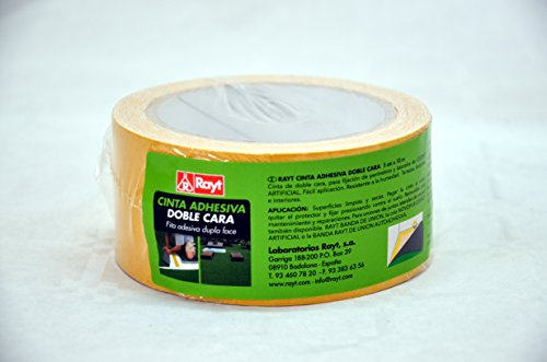 Rayt 2204-29 Cinta adhesiva de doble cara para césped artificial. Apta para interior y exterior. No deja residuos. 5cm x 10m