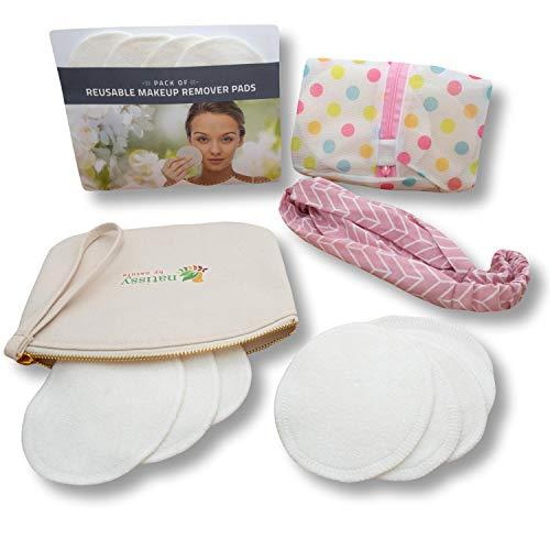 Waschbare Abschminkpads Bambus, 12 Stück Bio Makeup Entferner Pads MADE IN EU; Wiederverwendbare Wattepads; Mehrweg Abschminktücher für Gesicht, Nachhaltige Reinigungspads MIT Wäschenetz + Stofftasche