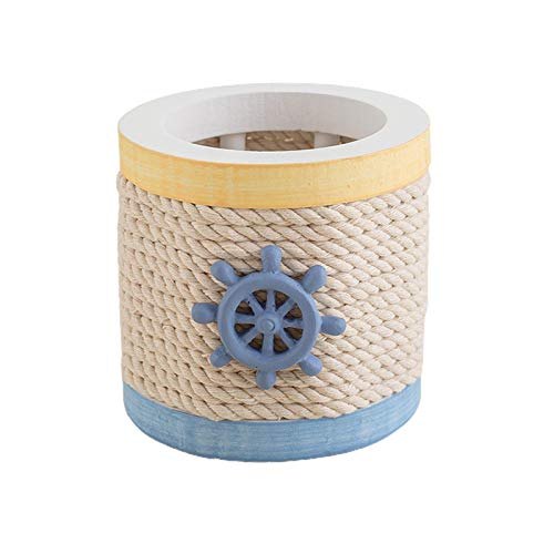 Honton Caja de almacenamiento de almacenamiento con timón circular, contenedor de almacenamiento de madera, bonito soporte de cuerda de algodón, para decoración de oficina, hogar, 9 x 8,5 cm
