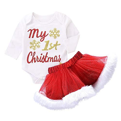 Jimmackey 2pcs Natale Neonata Pagliaccetto Lettera Stampa Tutine Body + Tulle Peluche tutù Gonna Bebè Abiti Set