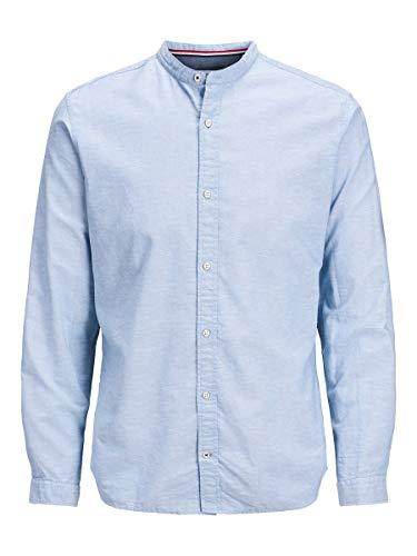 JACK & JONES JJESUMMER Band Shirt L/S S20 STS Camicia, Celeste, M Uomo