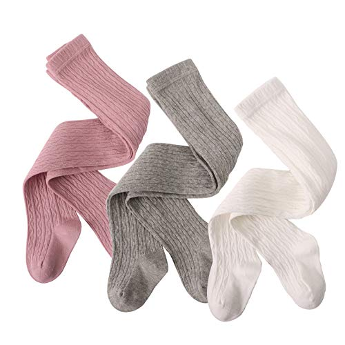 Winmida Baby Girl Tights 3 Pack Toddlers Cable Knit Leggings Kids Cotton Pantyhose for boys and girls (medium(12-24 months), multi-light(grey+white+pink))