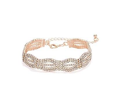 Adjustable Cubic Zirconia Classic Tennis Bracelet For Women Chain Link Bangle Bracelet Jewelry (rose gold-white Rhinestone)