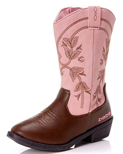 bebe Girls Western Cowboy Boot with Easy Side Zipper (Little Kid/Big Kid) (Brown and Pink, Numeric_4)