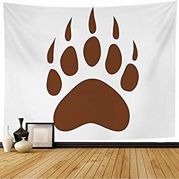 Lacfiora Tapestry Wall Hanging Brown Paw Bear Claws Footprint Polar Panda Asian Foot Simple Tattoo Wild Grizzly Fur Giant Animal Tapestry Dorm Tapestry for Living Room 60x60 Inches