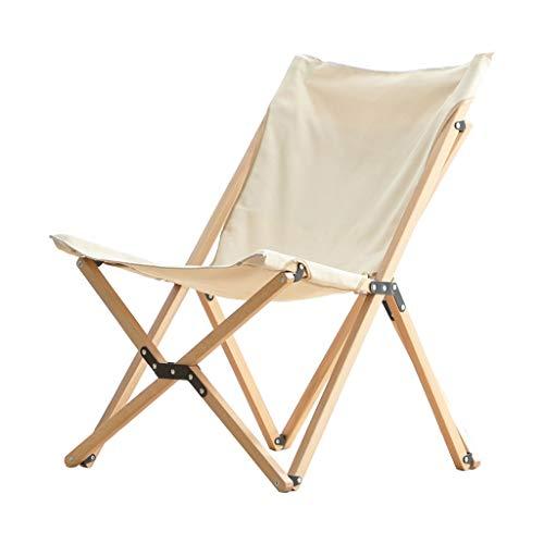 Shunsong shop Silla Plegable al Aire Libre de Madera sólida Balcón del sillón Individual pequeño Camping Silla de Playa portátil al Aire Libre (Beige)