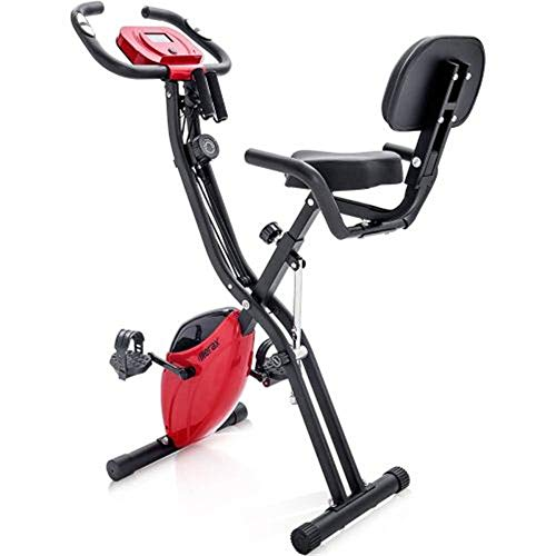 KirinSport X-Bike, bicicleta de fitness plegable magnética, bicicleta estática para entrenamiento cardiovascular, bicicleta interior con ordenador de tránsito y bandas de expansión, color rojo