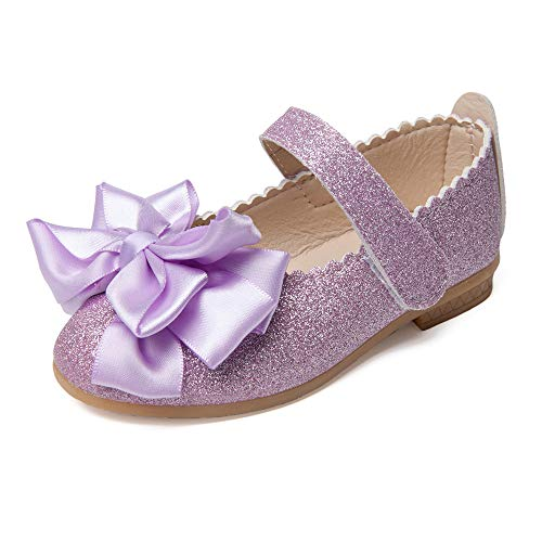SOFMUO Toddler Girls Ballet Mary Jane Flats Bowknot Ballerina Wedding Princess Dress Shoes (Purple,21)