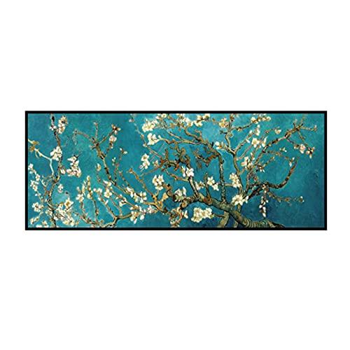 Pintura de porcelana de cristal Flores de flor de almendro Reproducciones de pinturas en lienzo Obra de arte famosa Cuadro de arte de pared con marco de aluminio Decoración de la pared del hogar