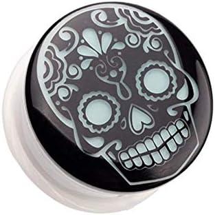 Covet Jewelry Glow in The Dark Sugar Skull Single Flared Ear Gauge Plug 0 GA 8mm product image
