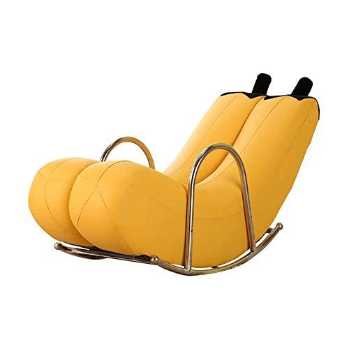 MEETGG Silla Mecedora - Solicitadora de plátano Creativo - Sofá Perezoso con reposapiés - Muebles de sofá de sofá de Lujo Europeo de Lujo,Amarillo