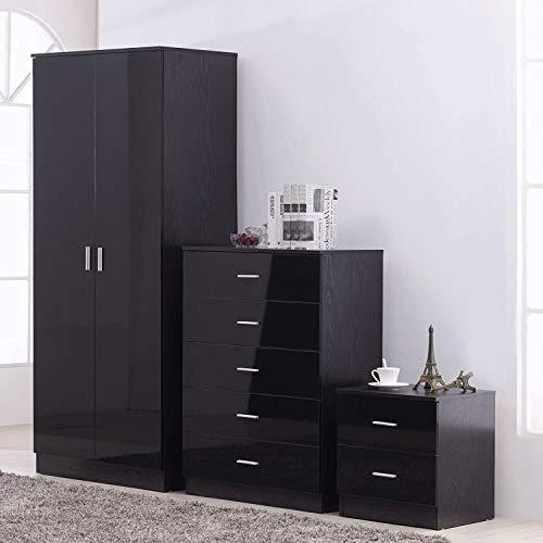 MMPTN 3-teilige Schlafzimmermöbel-Sets - 2-türige Kleiderschrank 5 Schublade Kommode 2 Schubladenbett,Black