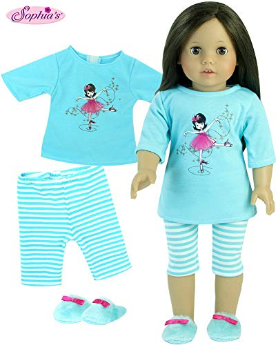 Sophia's 18 Inch Doll Pajamas 3 Pc Set, Fits 18 Inch American Girl Doll Clothes & More! Silk Screened Ballerina & Tulle Detailed Teal Doll PJs Shirt, Striped Pants & Doll Slippers Sleepwear Set