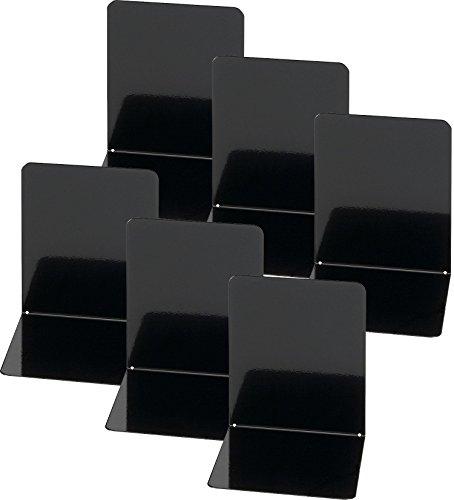 Maul Buchstützen aus Metall, 6 Stück, 14x12x14 cm (schwarz | 3 Paar)