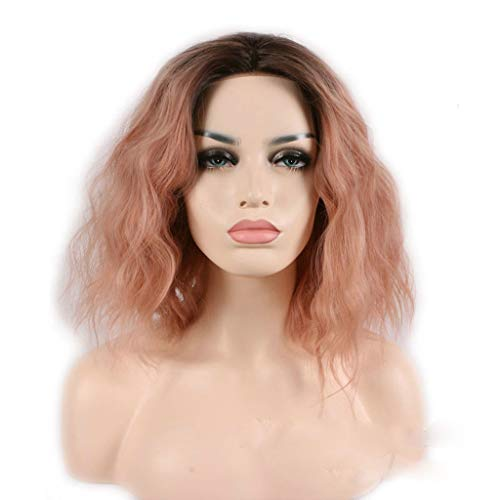 Perruque Dame, Dégradé Rose Teint Ondulé Cheveux Courts Chauds Moelleux Court Cheveux Bouclés Cosplay